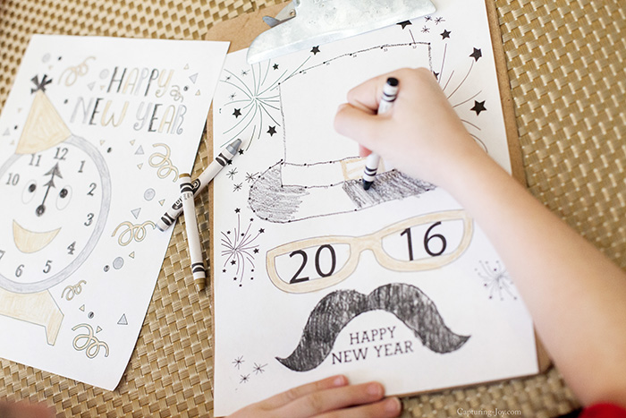 top hat coloring page for new years