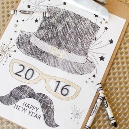 top hat new years free coloring page