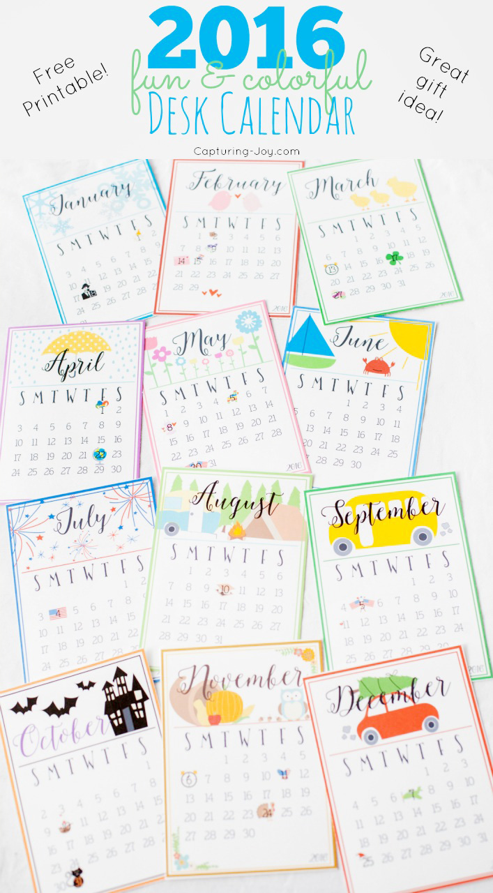 2016 fun and colorful free printable desk calendar. Makes a great gift idea! Reminder of all major US holiday!