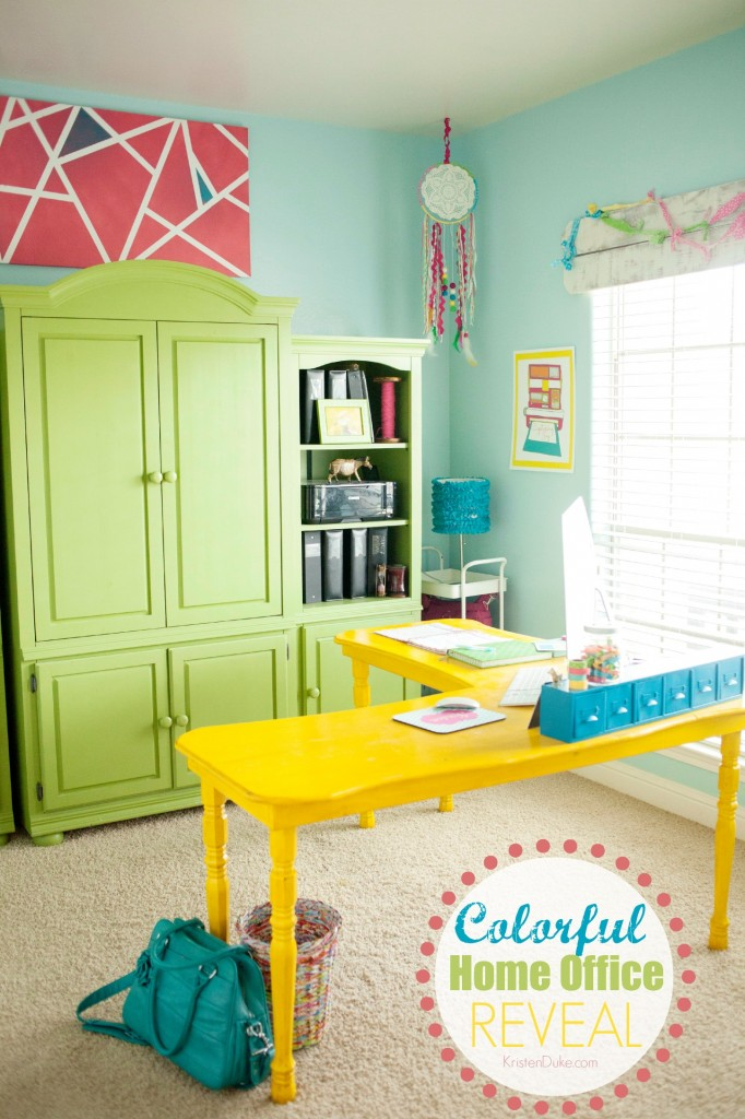 Colorful Home Office with custom corner desk