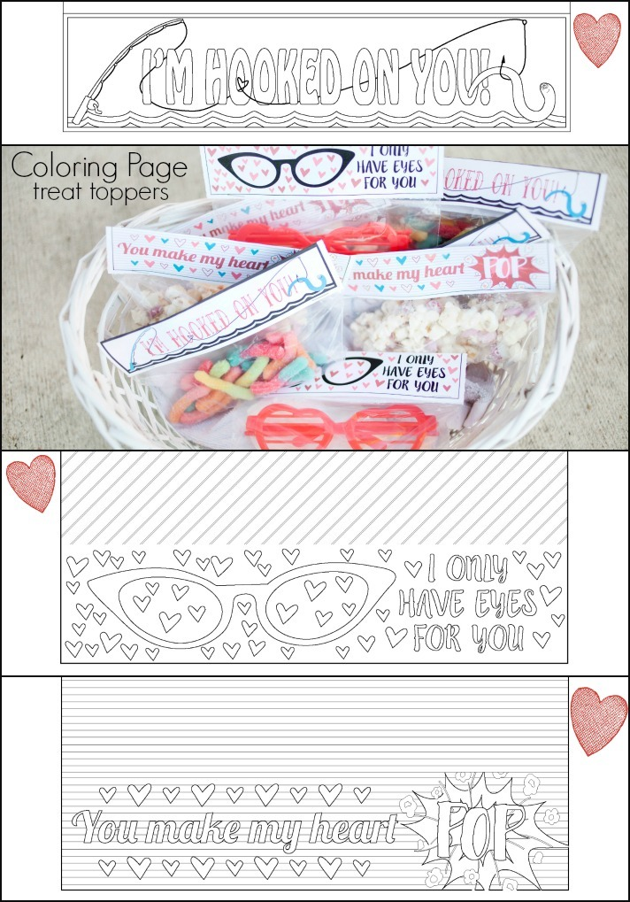 Coloring Page Treat Toppers for Valentine gift idea