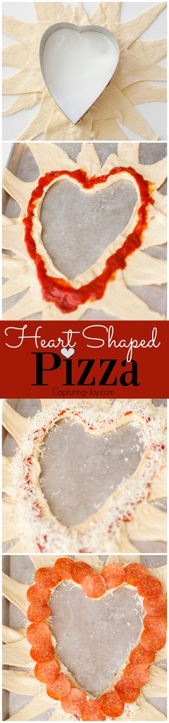 Easy Heart Shaped Pizza recipe, perfect for Valentine's day dinner!