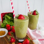 Protein packed Green Strawberry healthy smoothie recipe
