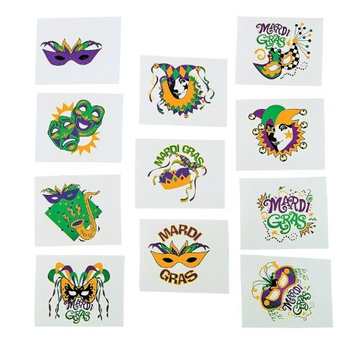 Mardi Gras glow in the dark tatoos