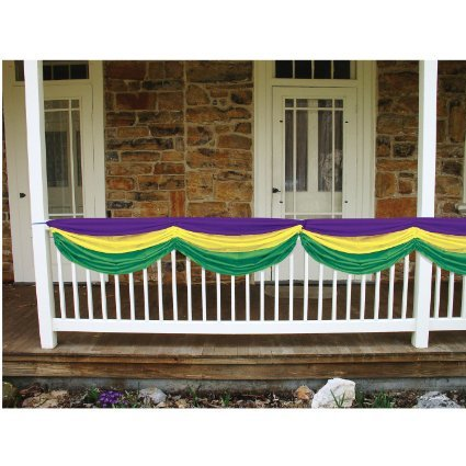 Purple, yellow, and green fabric bunting