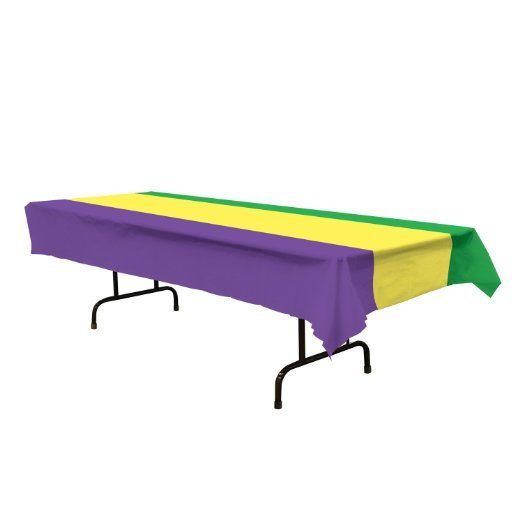 Purple, yellow and green table cloth