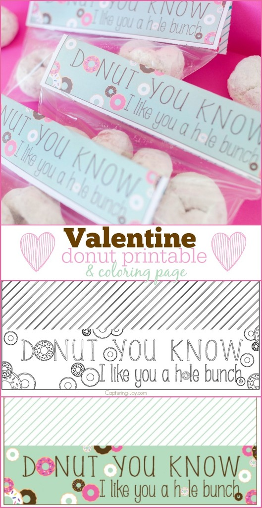 Valentine Donut printable and coloring page treat topper