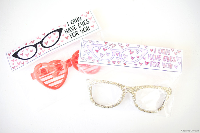 glitter valentine glasses with coloring page printable