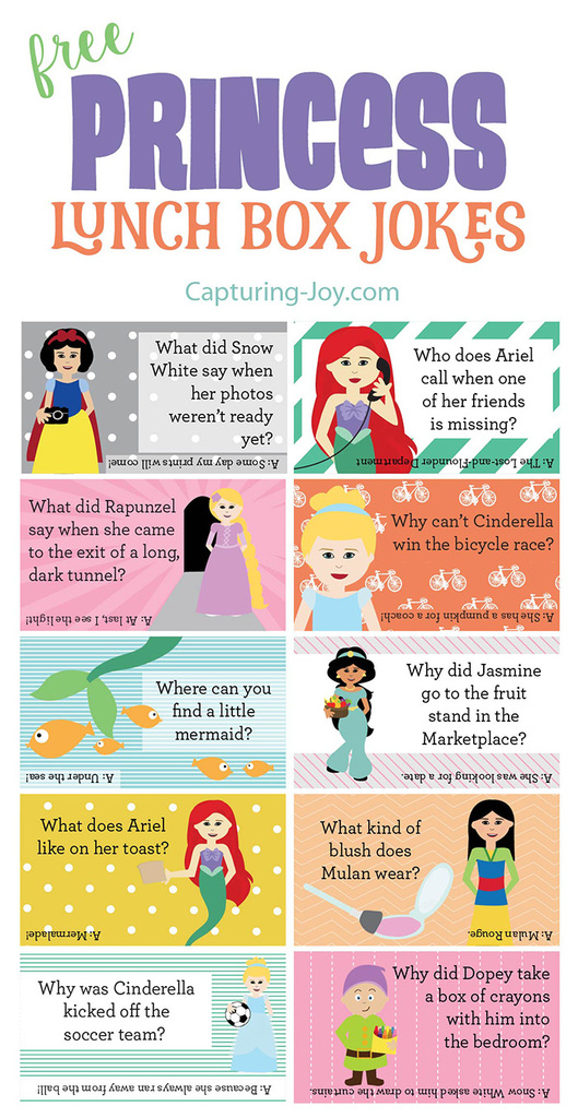 Free Disney Princess lunch box jokes