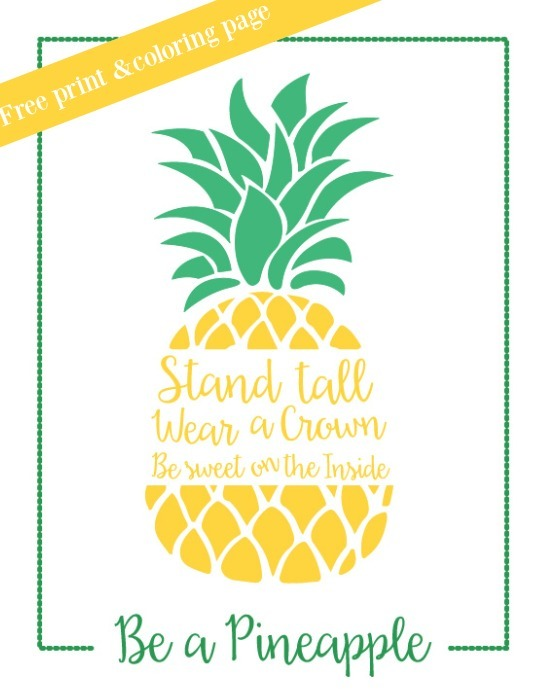 Free Pineapple Print and Coloring Page