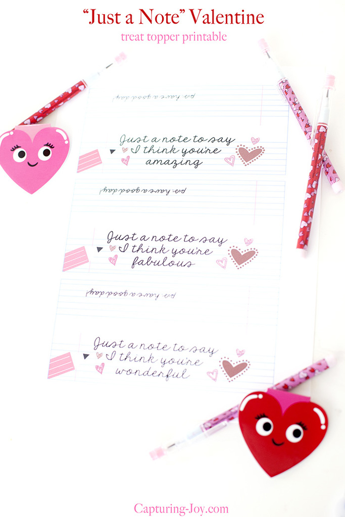 Just a Note Valentine Treat topper printable
