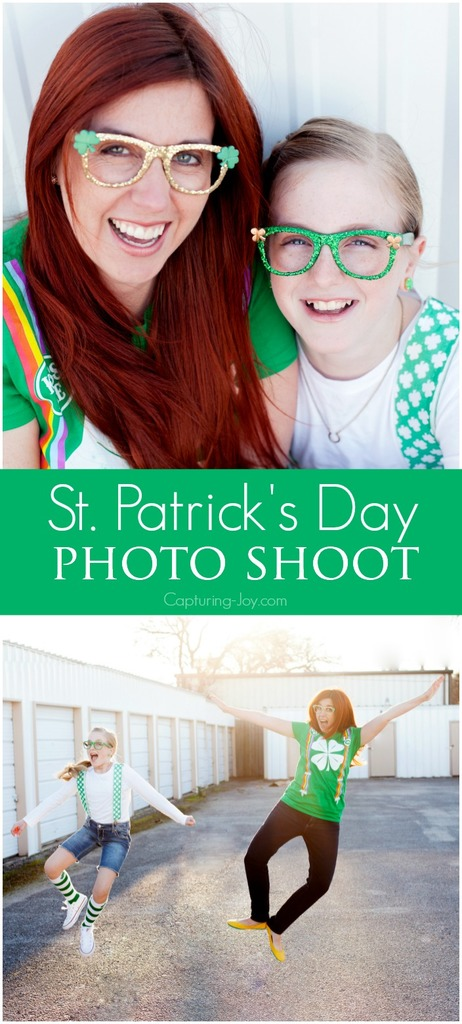 St Patricks Day photo shoot including DIY glasses and where to buy clothes