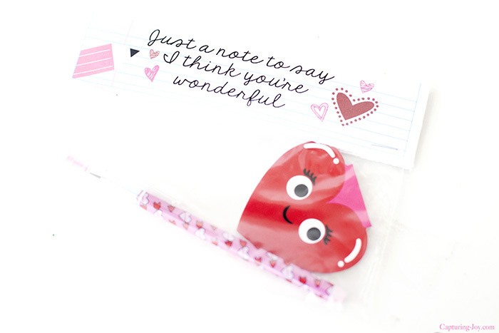 heart note pad and valentine pencil