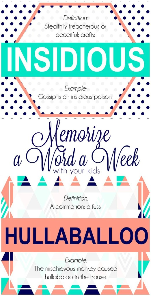 Memorize a Word a week with your Kids: April words