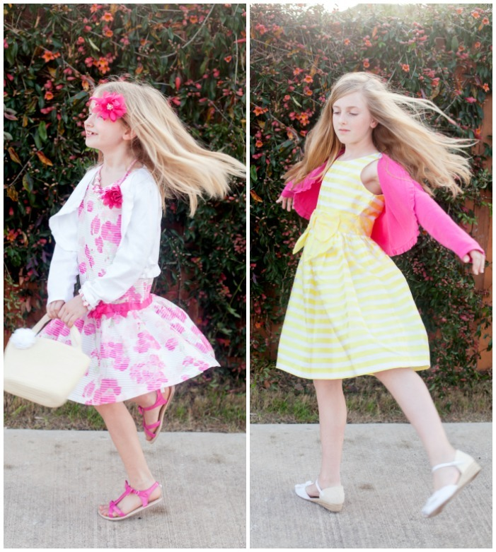 Pink and yellow spring dresses