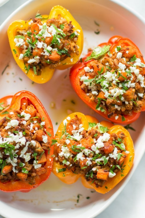 sweet potato and ground turkey stuffed peppers - sweet potato recipes