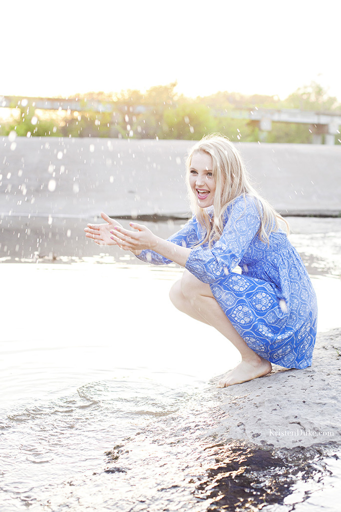 splashing wather senior pictures