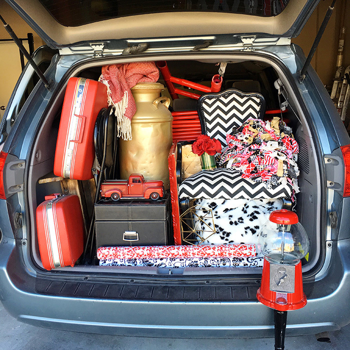 trunk full of red and black and gold decorations