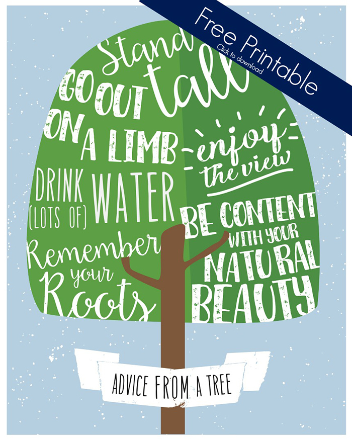 Advice from a Tree Free Printable for Earth Day Image