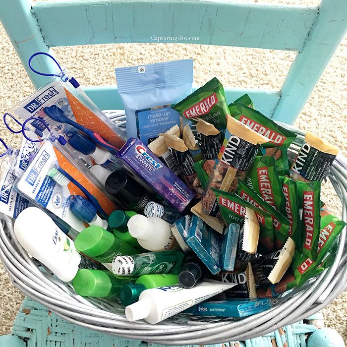 Guest basket of helpful items and toiletries