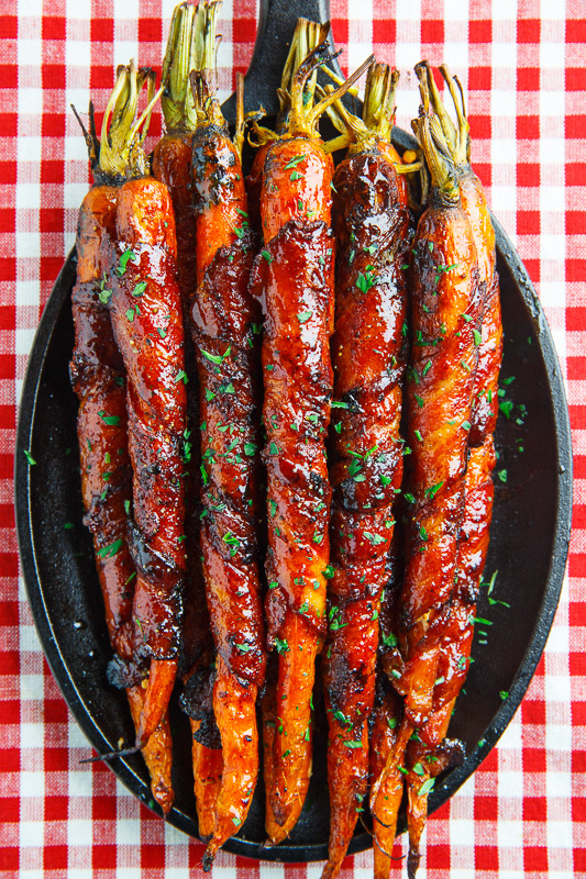 Maple Bacon Wrapped Roasted Carrots