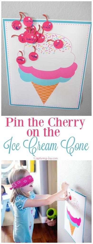 Pin the Cherry on the Ice Cream Cone Activity