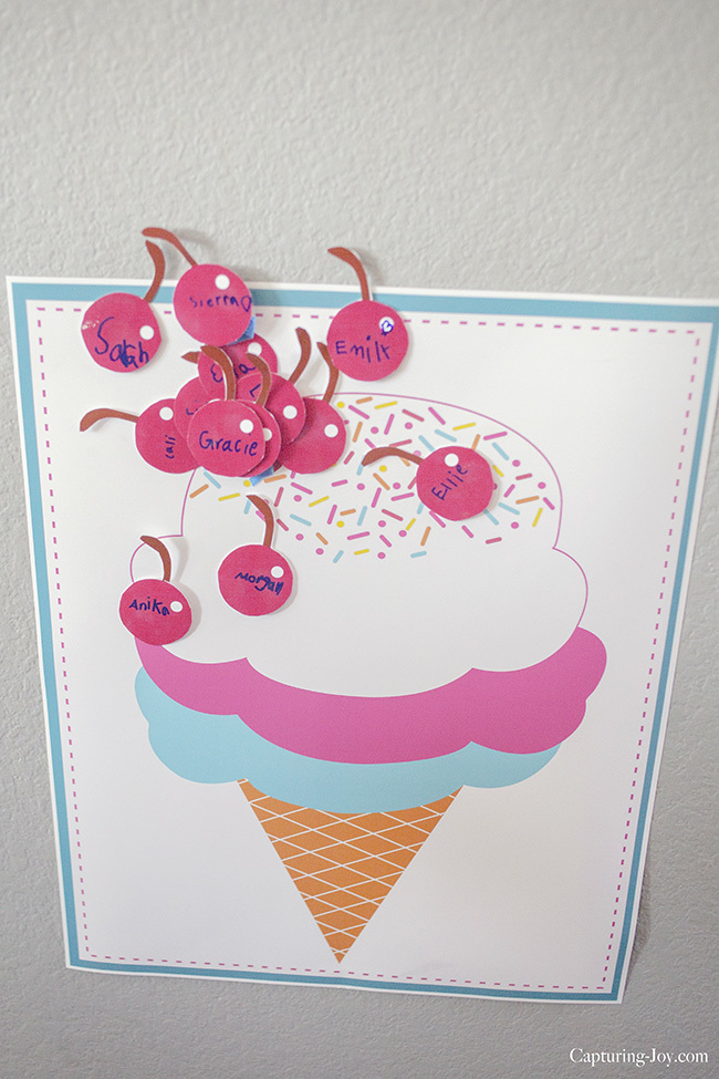Pin the Cherry on the ice cream