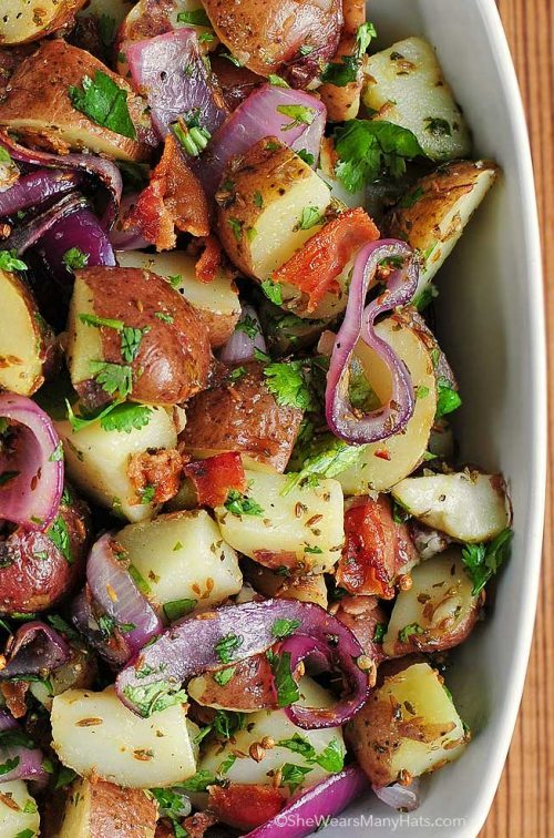 texas style potato salad with red potatoes