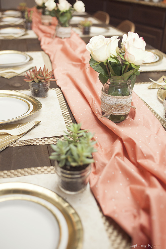 dinner party table setting with paper products