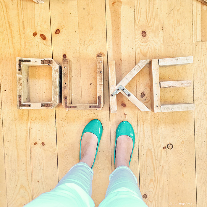 wooden letters at Harp Design Co
