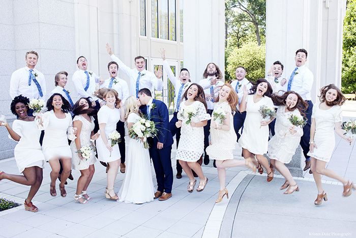 Bridal party jumping at Houston Temple