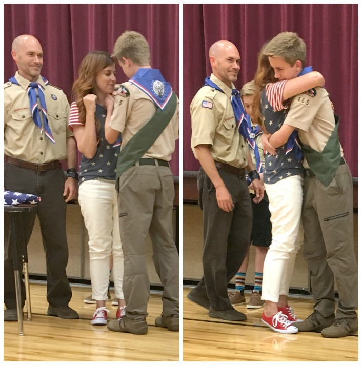 Eagle Scout pinning mom