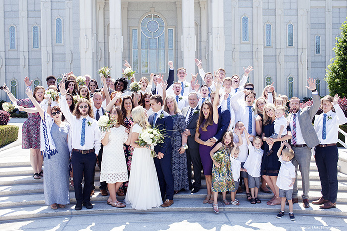 Everyone at Houston LDS temple wedding