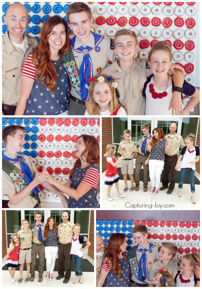 Family Pictures with American Flag Donut Wall and Boy Scouts of America