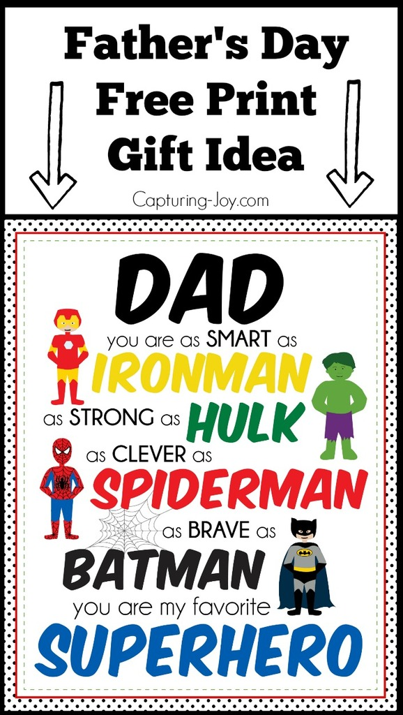 Superhero Father S Day Print Father S Day Gift Idea From