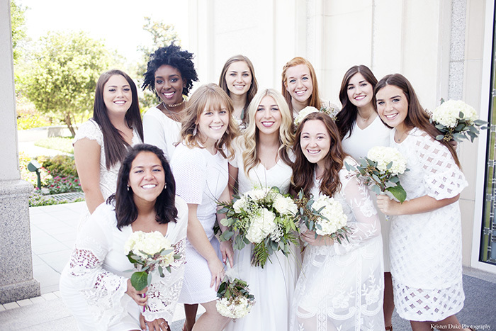 Gorgeous bridesmaids at the Houston Temple