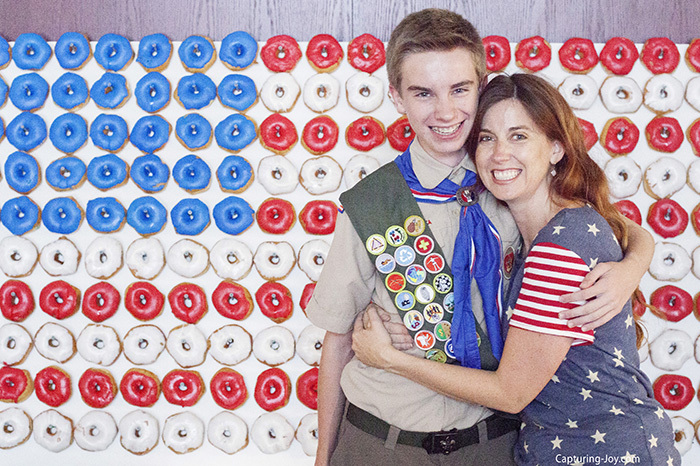 Mother and Eagle Scout with American Flag Doughnut Wall