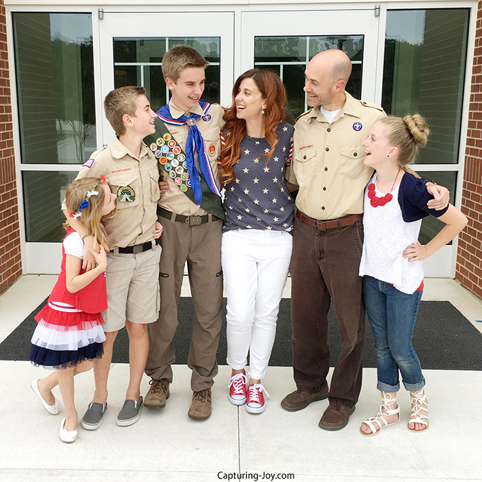 Patriotic Family Pictures in Red White Blue and Scout