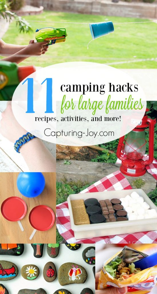 Camping with a large family can be a lot of work. With these camping hacks you and your family can enjoy camping together! | Capturing-Joy.com