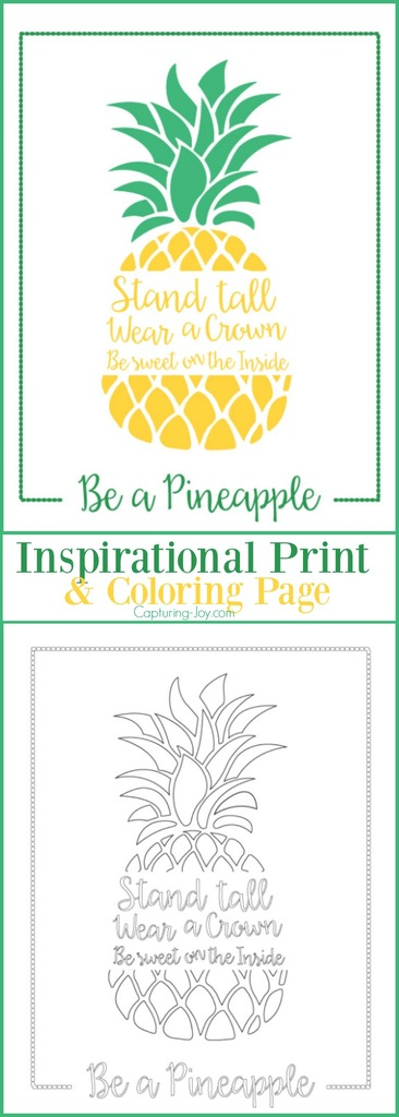 Be A Pineapple Inspirational Print And Coloring Page Artwork