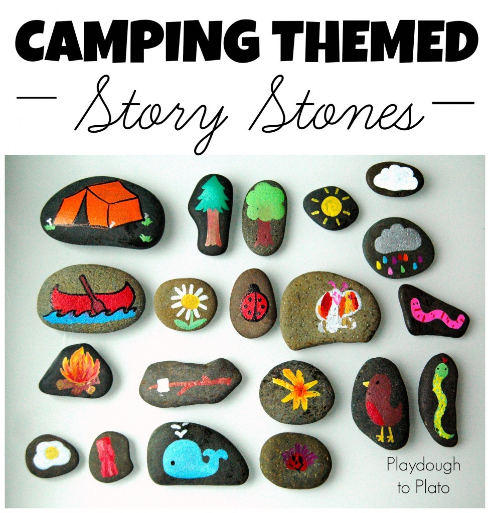 Camping themed story stones for a fun camping activity.