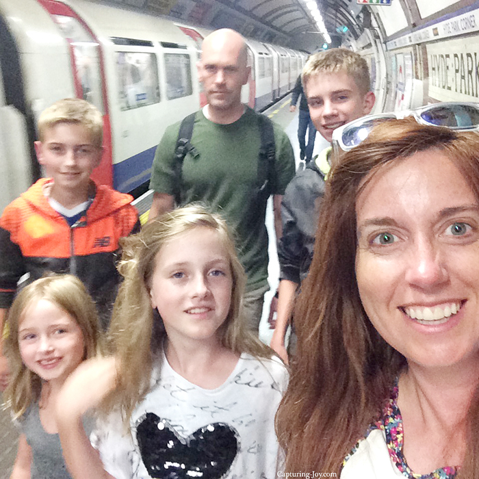 Family of six on the subway in London