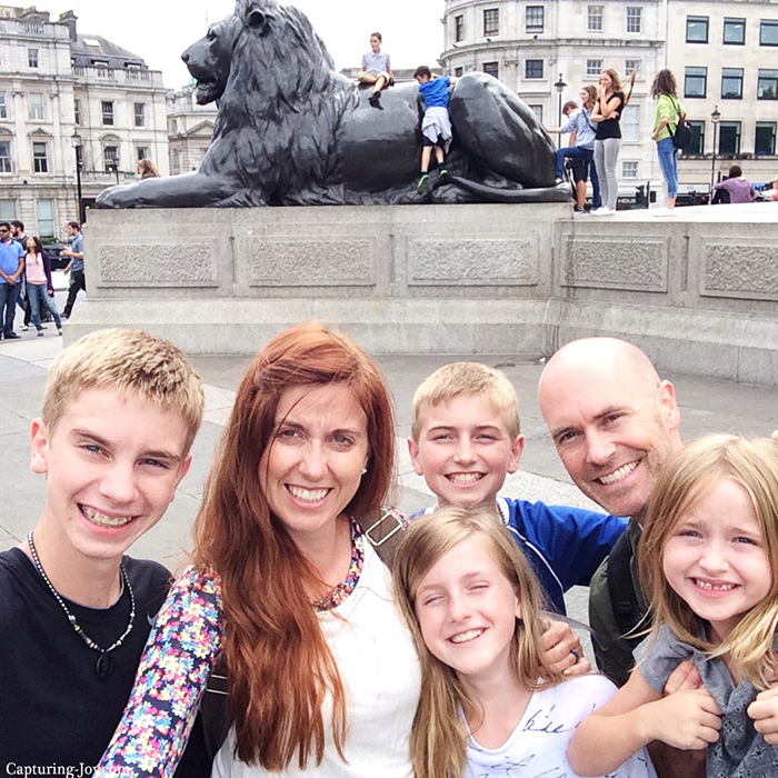 Family selfie stick at Trafalgar Square in London