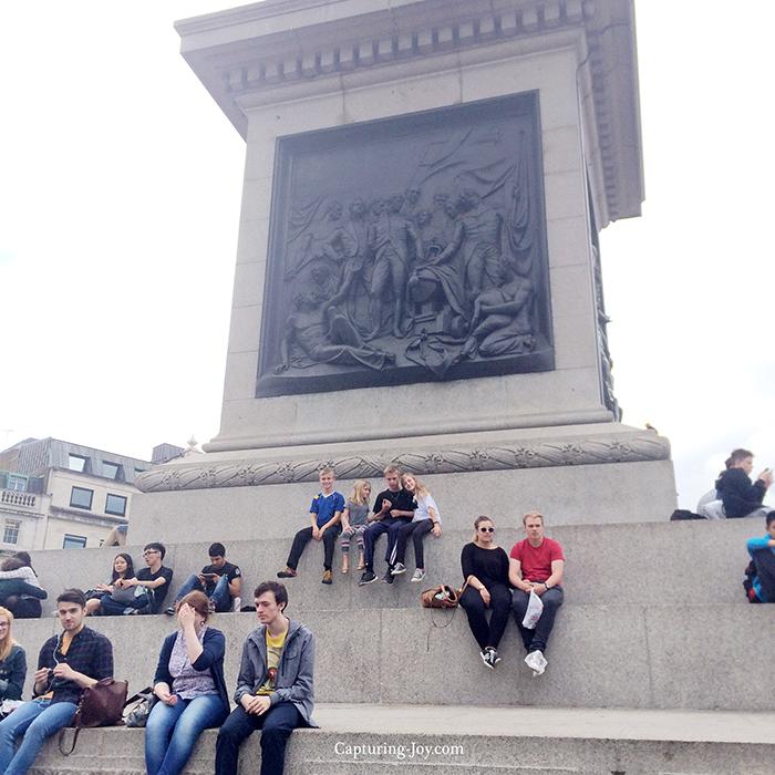 on the steps of trafalgar square