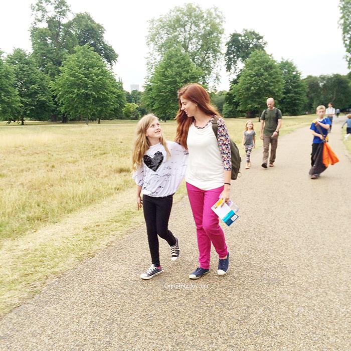 strolling through Hyde Park in London