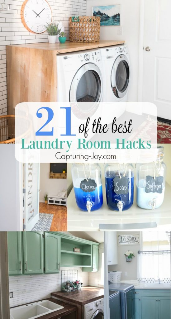 21 of the best laundry room hacks. Creative ways to organize, save time and spruce up your laundry room.   Capturing-Joy.com