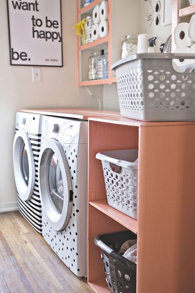 Add a pop of color with this DIY laundry room shelf.