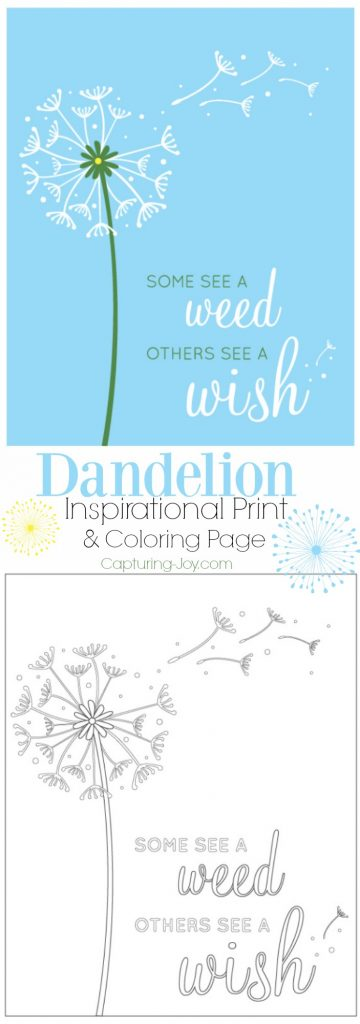 Dandelion Inspirational Print and Coloring Page