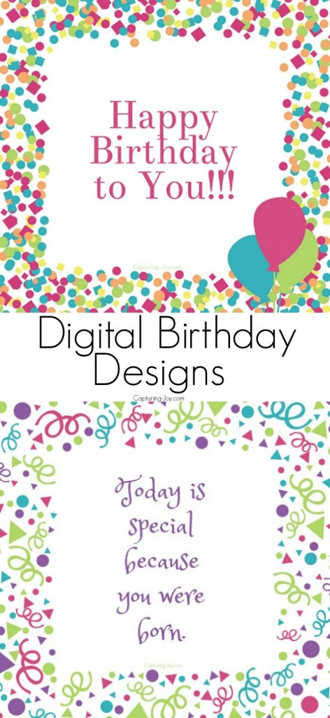 Digital Birthday Designs to share with family and friends