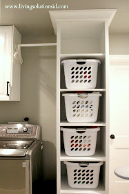 Laundry room shelves for more storage.